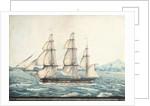 Florentia Captn Wimble. Passing through Telleberry Roads Feby 1st 1825 Coast of Malabar by Neve