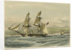HM brig 'Frolic', 16 guns, slaver driven on shore, coast of Brazil by John Vernon
