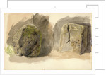 Studies of lichen covered boulder and a stone block (on reverse) by John Brett