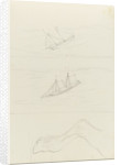 Two slight sketches of a two masted sailing craft and one of a horse's hind leg by John Brett