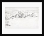 Sketch of a flat coastal view in Cornwall with rocks in the sea by John Brett