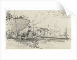 Sketch of Thames scene, 'S.T. Sun' towing the 'Cairn Ross' out of Greenland Dock (on reverse) by Nelson Dawson