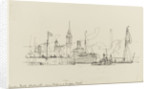 Sketch of various vessels in London Dock, Shadwell, near Stepney or Wapping Station by Nelson Dawson