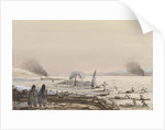 The Cemetry, Kinburn, 1855. HMS 'Tribune' cutting through the ice on the Dnieper by Harry Edmund Edgell