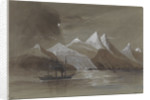 HMS 'Tribune' off Mount Sacramento 7000 ft high Magellan Straits S. America by Harry Edmund Edgell