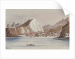 View of coastal town with mountains behind by Harry Edmund Edgell