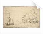 A ketch and two English ships in a breeze by Willem van de Velde the Elder