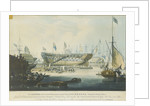 The Launch of the Honourable East India Company's Ship 'Edinburgh' from the dock yard of Messrs Wigrams & Green Blackwall with a view of the ship 'Abercrombie Robinson' on the stocks by William John Huggins