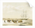 Sledge party leaving HMS 'Investigator' in Mercy Bay, under command of Lieutenant Gurney Cresswell, 15 April 1853 by S. Gurney Cresswell