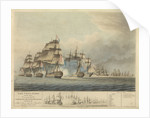 The China fleet heavily laden commanded by Commodore Sir Nathaniel Dance beating off Admiral Linois and his squadron the 15 February 1804 by Thomas Buttersworth