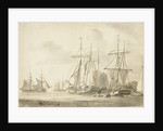 Group of brigs at anchor in a harbour by Gerrit Groenewegen