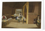 Woolwich Arsenal 1750: laboratory interior making charges by British School