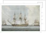 74-gun ship in the Solent by Dominic Serres the Elder