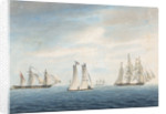 No 2. Dec 31st 1794. The Cleopatra towing the Thetis towards the Chesapeake. Lynx and Thisbe attending... A Virginian pilot boat the Sally of Norfolk in the foreground by George Tobin