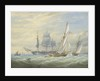 Two cutters under sail and a ship at anchor by John Cantiloe Joy