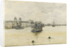 'Greenwich', with a dredger on moorings off the Royal Naval College, Greenwich Hospital by Jules Lessore