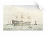 HMS 'Victory' in calm water near a coast by John Wilson Carmichael