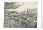 Square-rigger with all sails set passsing land by Herbert Barnard John Everett