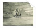 Port side of a sailing vessel in a calm sea by John Everett