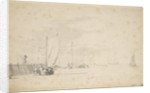 A tochschuit pushing off from the shore by Willem Van de Velde the Younger