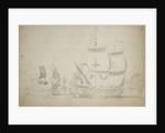 An English two-decker under easy sail by Willem van de Velde the Elder