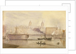 The Dreadnought being towed up the Thames at Greenwich by a paddle tug by A. Grieve