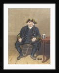 Portrait of Greenwich Pensioner, seated with clay pipe and tankard by Henry Dawe