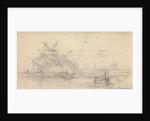 A two deck ship wrecked on a beach by John Christian Schetky