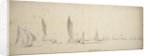 A tochtschuit, wijdschips and waterschips in a light breeze by Willem van de Velde the Elder