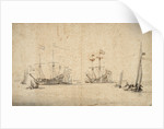 A kaag running free and two Dutch flagships at anchor by Willem Van de Velde the Younger