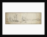 Two doggers and a ship at anchor in a harbor by Willem van de Velde the Elder