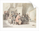 Sketch for 'A Tale of Trafalgar' showing a Greenwich pensioner, a Chelsea pensioner and other visitors in the Painted Hall by John Burnet
