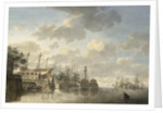 HMS 'Queen' at the King's Dock Woolwich by Hendrik Kobell
