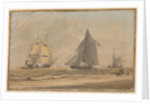 Royal Navy sailing vessel by the shore by unknown