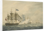 HMS 'Majestic' bearing down to attack the 'Terpsichore' and 'Atalante' 3 February 1814 by W. Anderson