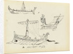 Sketches of early vessels including a Roman sail and oar vessel and ship of Odysseus, 500 BC (from a vase) by John Everett
