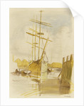 The barque 'Castle Holme' in Surrey Commercial Dock bow view, with Limehouse Church in the background by Herbert Barnard John Everett