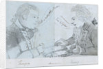 Sketch of Thompson and Harris playing backgammon on board 'Andromeda' by unknown