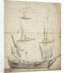 Portrait of a small Dutch merchant ship by Willem van de Velde the Elder
