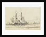 View of an outward bound collier off Northfleet and small single sail vessel by William John Huggins