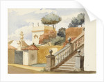 Roman jumble to the life. Staircase of uninteresting church of S. Dominico & S. Silvesto. Corner of Villa Aldobrandini with statues, in the garden of which are the trees - (pine, orange & eucalyptus) by Matilda Rose Herschel
