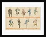 Nine caricature figures in 18th century costume by Henry William Bunbury