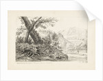 Country scene with trees on a bank by a river by J.C. B.