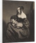 Young woman seated with a child on her lap by unknown