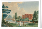 View of Merton House showing Lady Hamilton and Horatia in the grounds by unknown