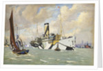 An armed auxiliary cruiser bringing a convoy of American troops into the River Thames by John Everett