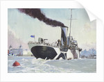 Royal Naval auxillary oil tanker off Greenwich, 1914-1918 by John Everett