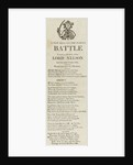 A New Song on the Famous Battle Fought on the 21st, when Lord Nelson Lost his most valuable life', illustrated with a Naval figure by unknown
