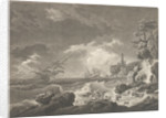 A Storm Depicting wrecked vessels off a rocky coast with survivors struggling ashore by Vernet