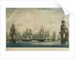 Repulse of Linois by the China Fleet... Ships in the Fleet making Sail in pursuit if the retreating Enemy, 15 Feb 1804 by Robert Dodd